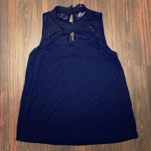 High-neck Black Tank Top with Lace Detail